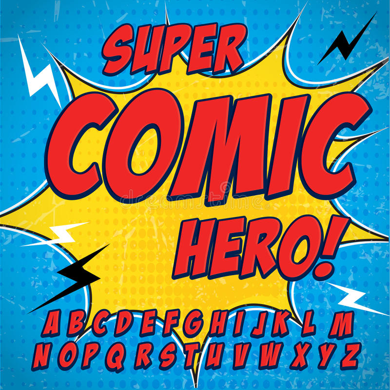 Komisk alfabetuppsättning Version för röd färg Bokstäver, nummer och diagram för ungars baner för komiker för illustrationwebsite vektor illustrationer