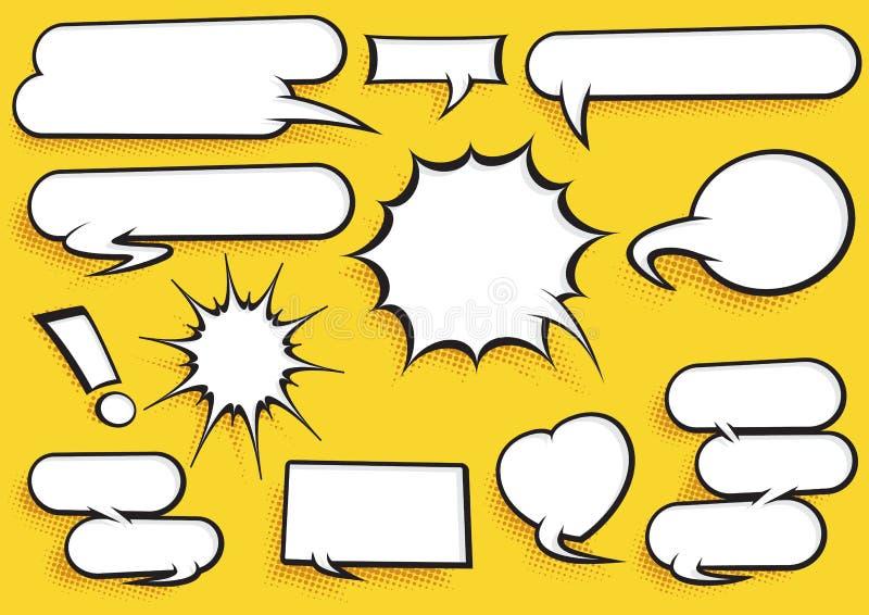 Komisk anförandebubblauppsättning stock illustrationer