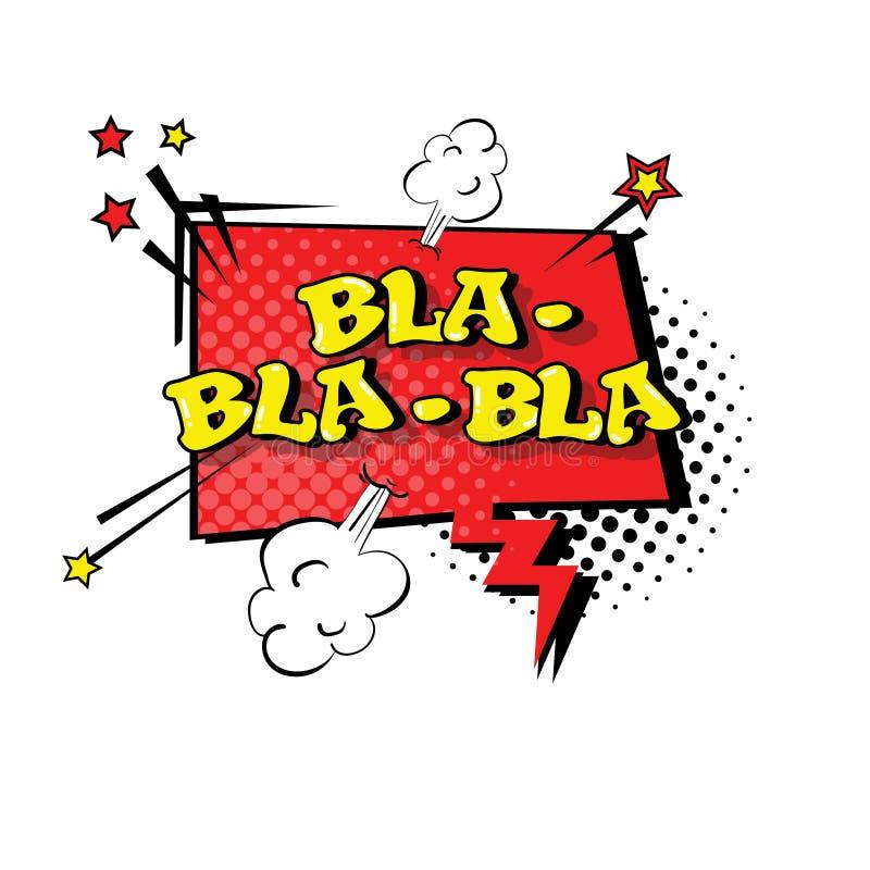 Komisk Art Style Bla Expression Text för pop för anförandepratstundbubbla symbol royaltyfri illustrationer