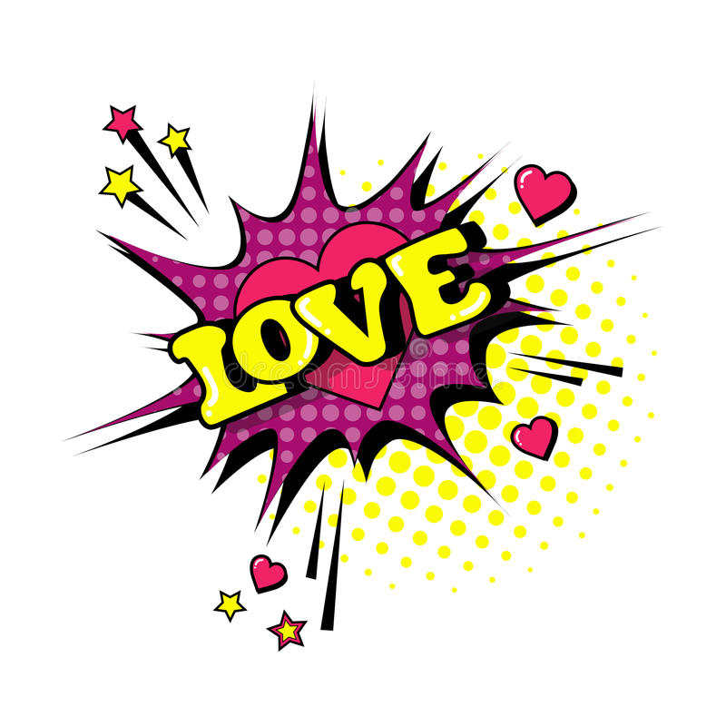 Komisk Art Style Love Expression Text för pop för anförandepratstundbubbla symbol stock illustrationer
