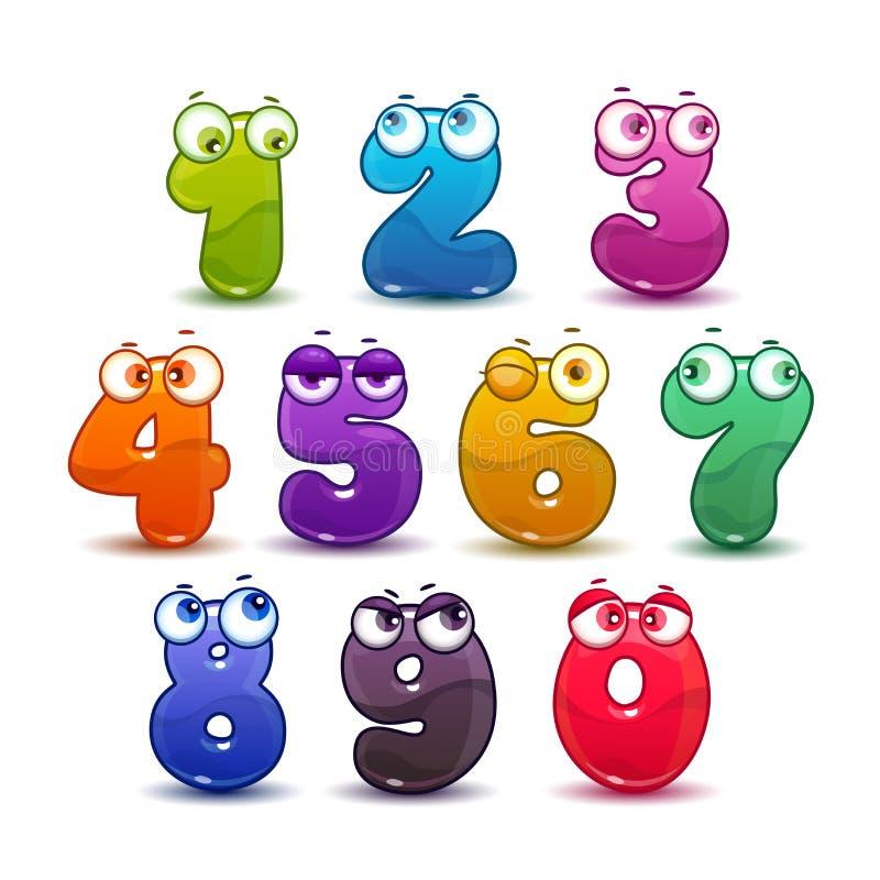 Komisk barnslig färgrik nummeruppsättning stock illustrationer