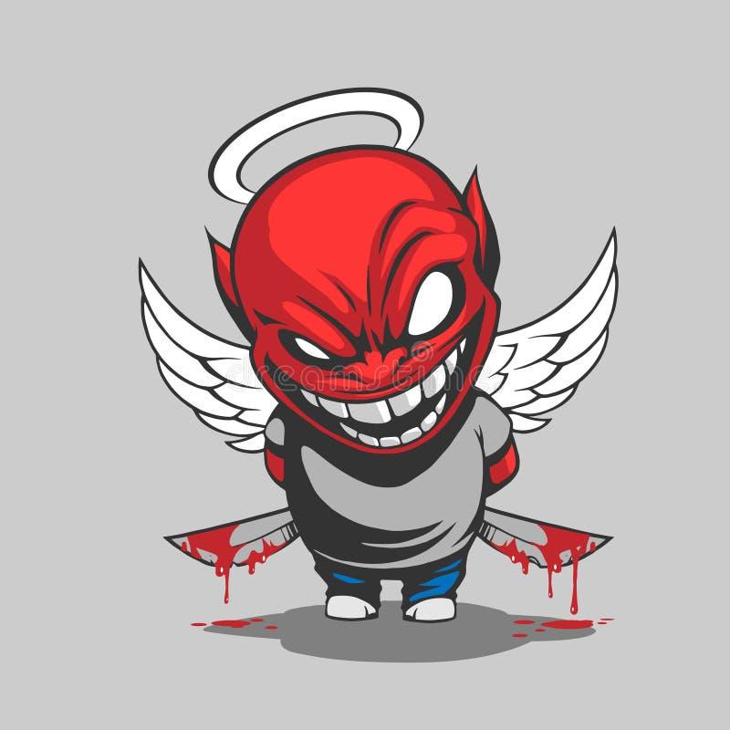 Komisk demonillustration vektor illustrationer