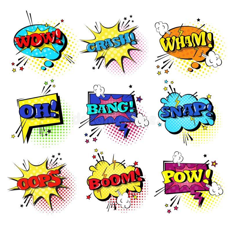 Komisk för Art Style Sound Expression Text för pop för uppsättning för anförandepratstundbubbla samling symboler stock illustrationer