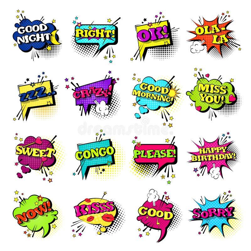 Komisk för Art Style Sound Expression Text för pop för uppsättning för anförandepratstundbubbla samling symboler vektor illustrationer
