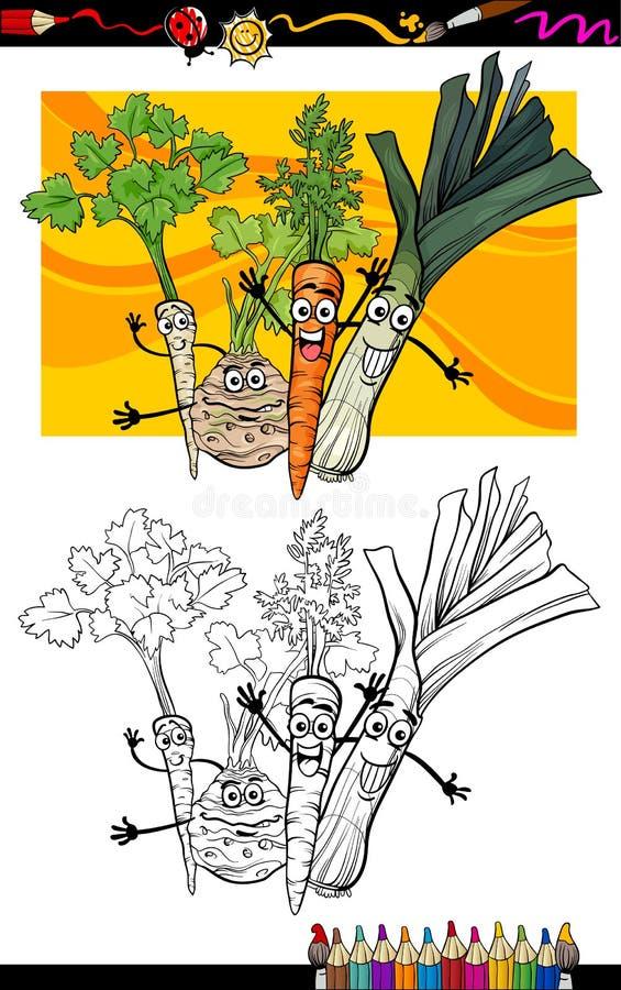 Komisk Grönsakgrupp För Färgläggningbok Arkivfoton