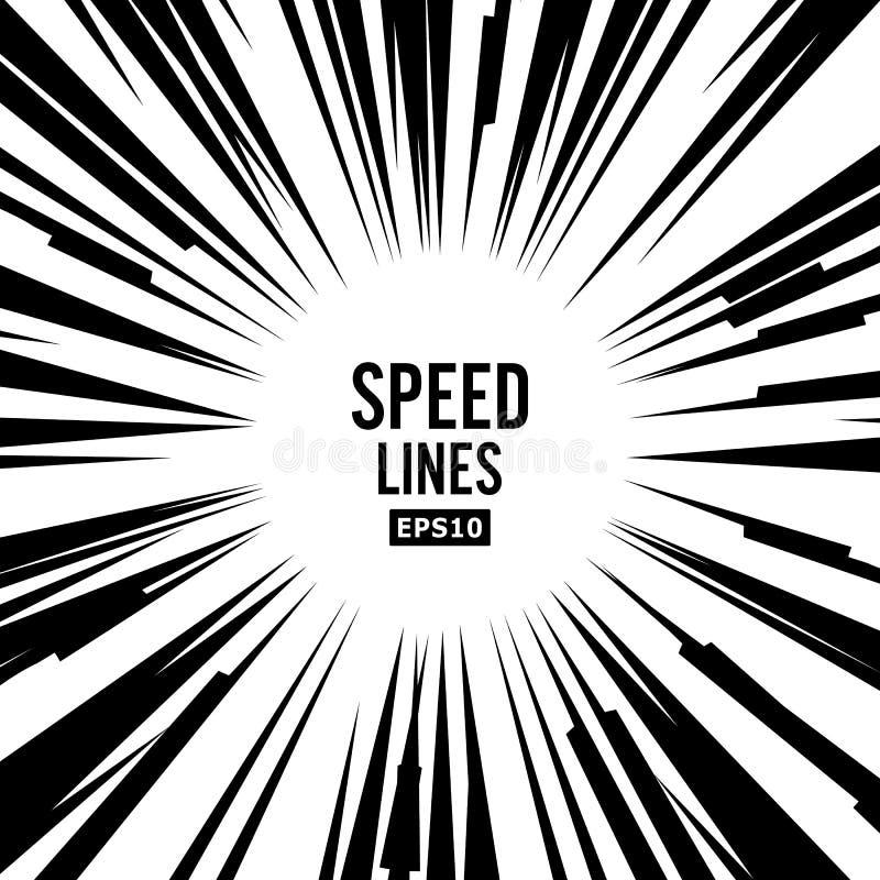 Komisk hastighet fodrar vektorn Svartvita radiella linjer bakgrund för bok Manga Speed Frame Superherohandling royaltyfri illustrationer