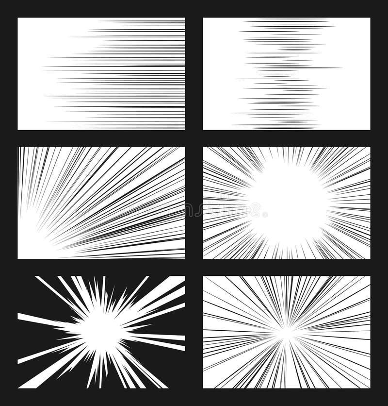 Komisk horisontal och radiell hastighet fodrar vektoruppsättningen stock illustrationer