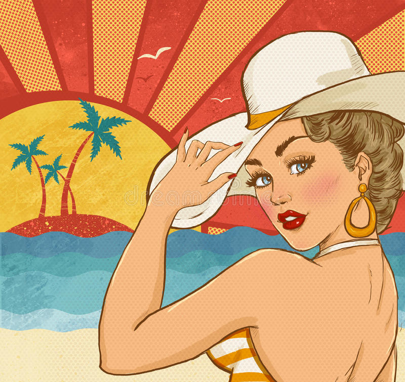 Komisk illustration av flickan på stranden Flicka för popkonst Etikett för tetidtappning Hollywood filmstjärna Tappningadvertizin royaltyfri illustrationer