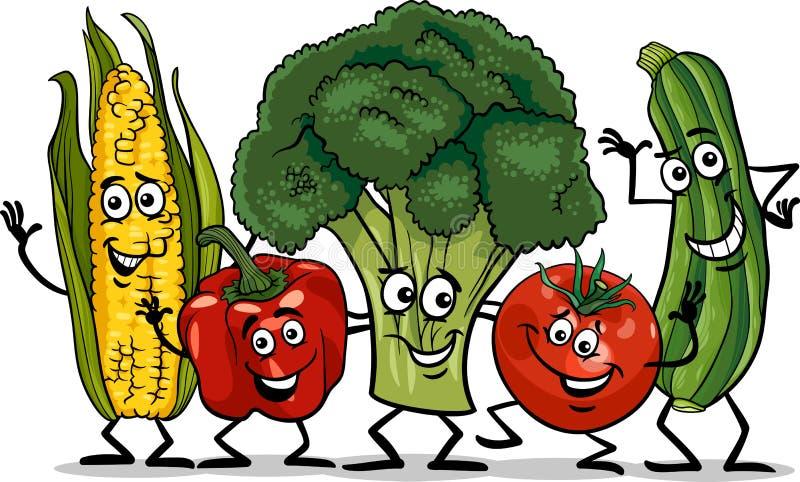 Komisk illustration för grönsakgrupptecknad film stock illustrationer