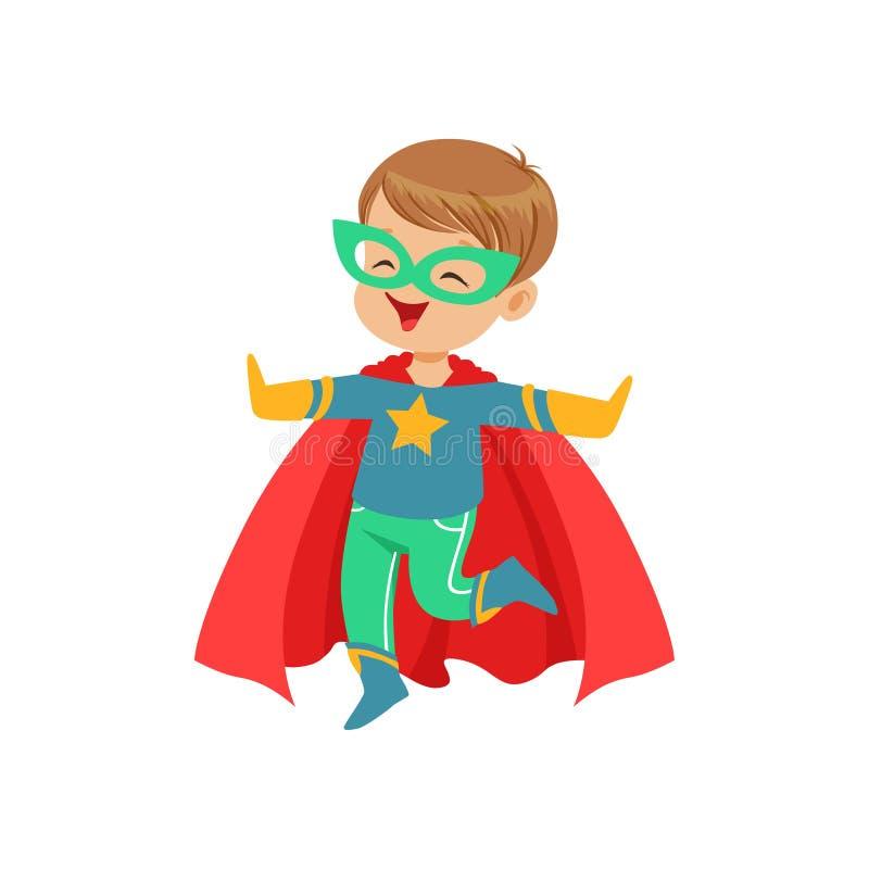 Komisk liten unge i färgrik superherodräktbanhoppning med händer upp karnevaldräkt venice Plant toppet pojketecken för vektor vektor illustrationer