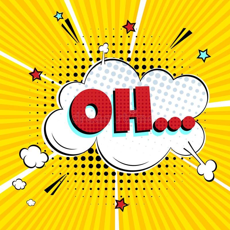 Komisk märka OH! i designen för komisk stil för anförandebubbla den plana royaltyfri illustrationer