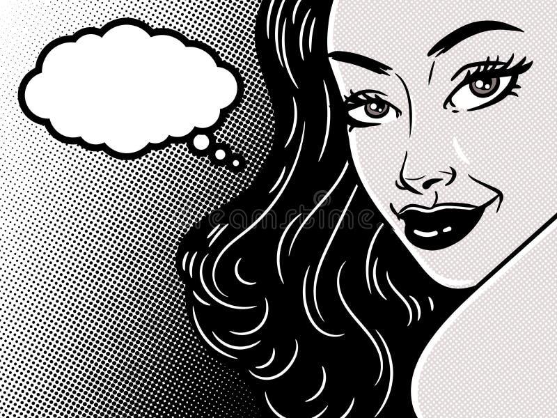 Komisk närbild för framsida för flicka för stilpopkonst med anförandebubblamolnet, härlig kvinna, vektorillustration stock illustrationer