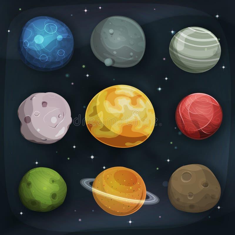 Komisk planetuppsättning på utrymmebakgrund vektor illustrationer