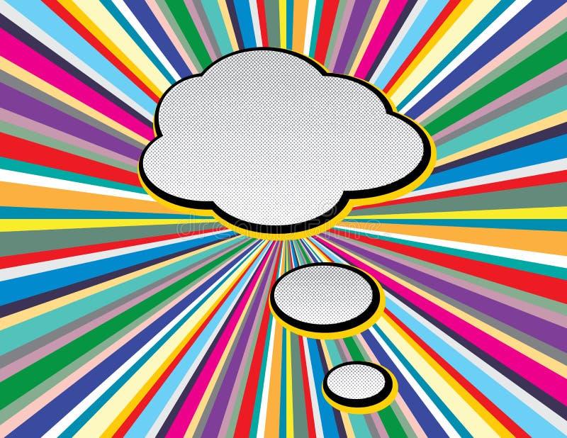 Komisk pop Art Style för textanförandebubbla på bakgrund för tvstilstrålar Retro komiska tomma anf?randebubblor st?llde in p? f?r royaltyfri illustrationer