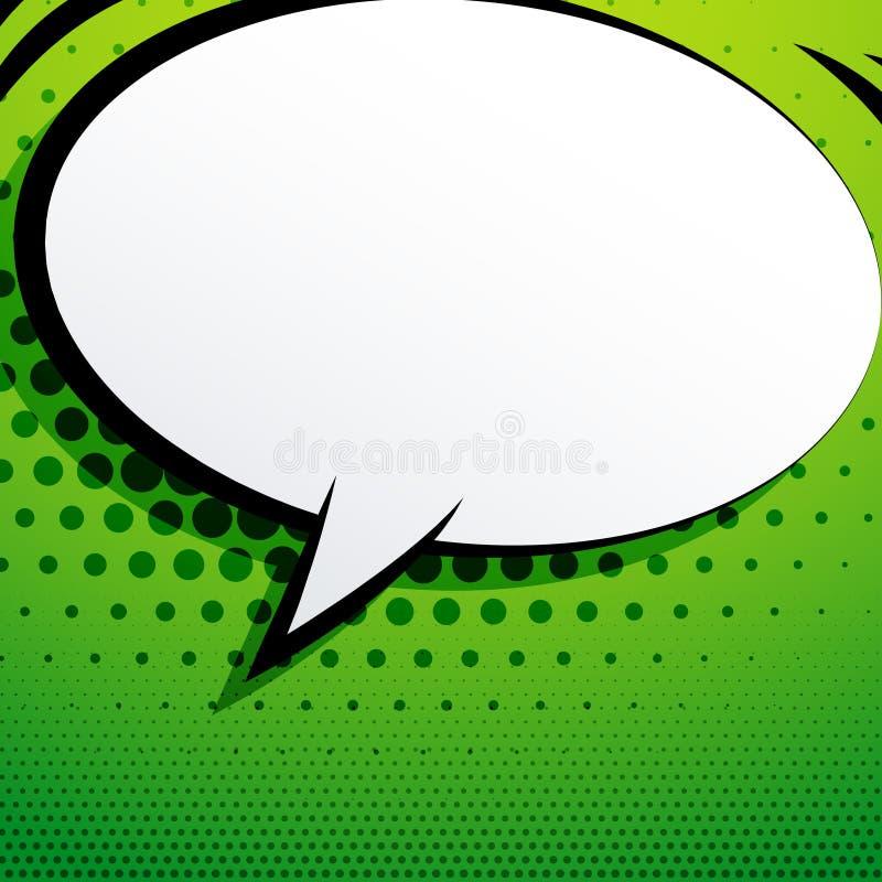 Komisk pratstundbubbla på grön bakgrund med rastrerad effekt royaltyfri illustrationer