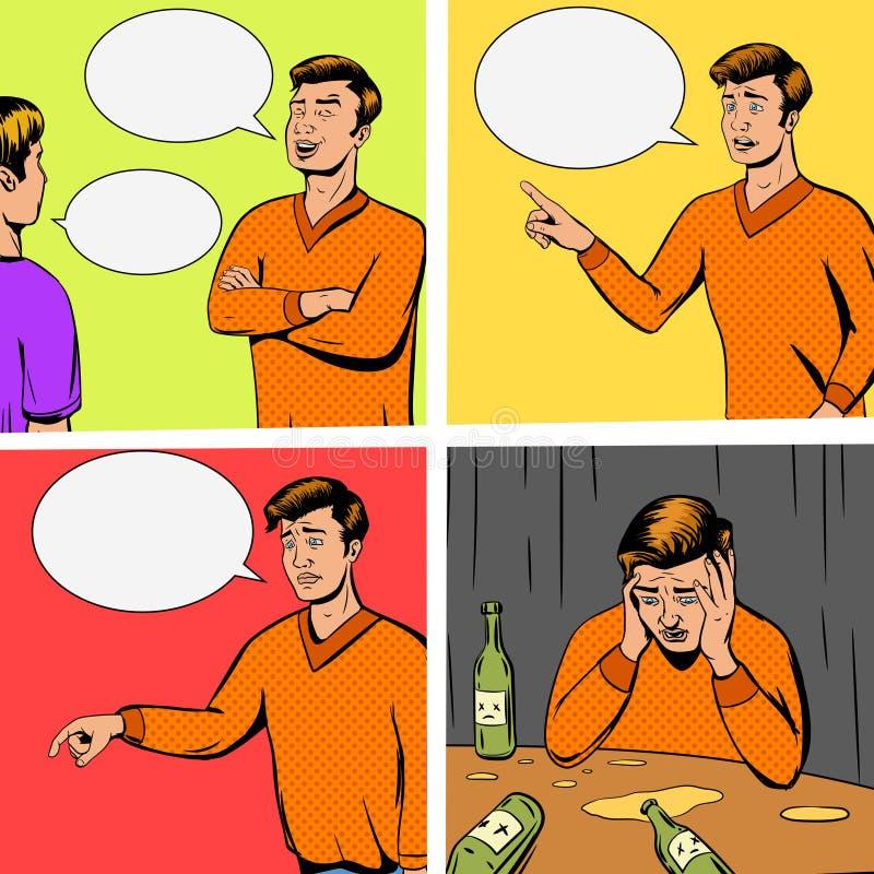 Komisk remsa med debatt av vektorn för två personer stock illustrationer