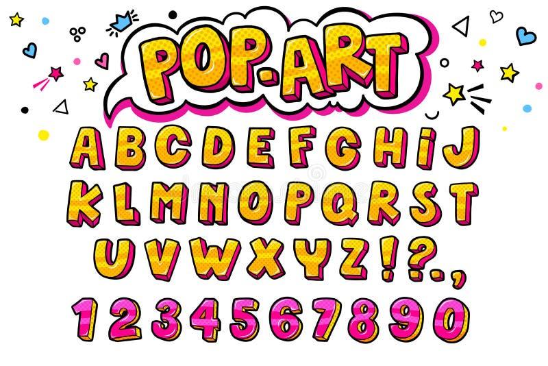 Komisk retro bokstavsuppsättning Alfabetbokstäver och nummer i stil av komiker stock illustrationer