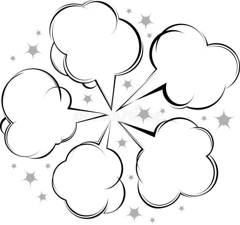 Komisk samling för stilanförandebubblor stock illustrationer