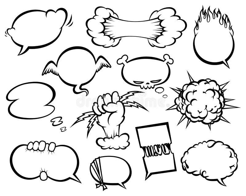 Komisk samling för stilanförandebubblor Rolig illustration för designvektorobjekt stock illustrationer