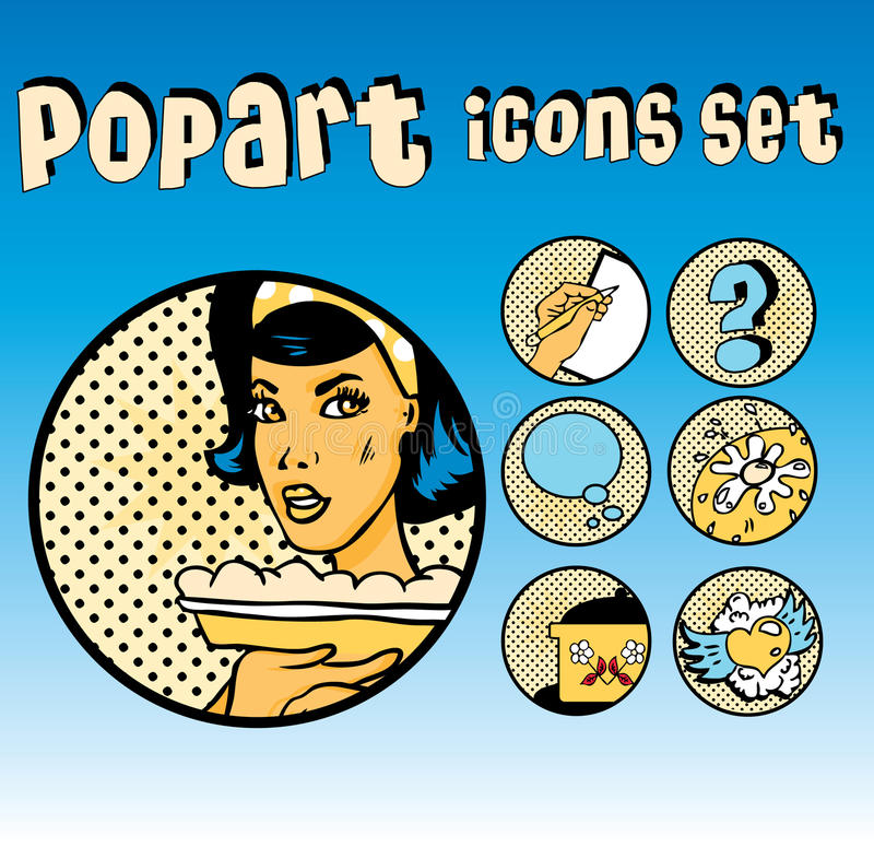 komisk set för cookerysymbolspopart royaltyfri illustrationer