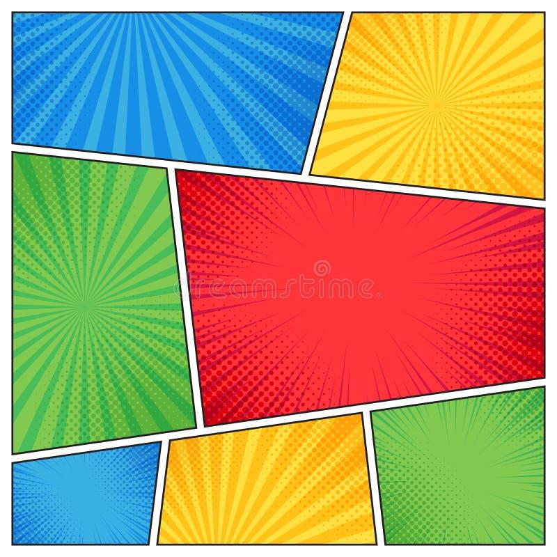 Komisk sidaram Roliga superherokomiker bokar tomma sidor med radiella linjer eller mallen för bandbakgrundsvektor stock illustrationer