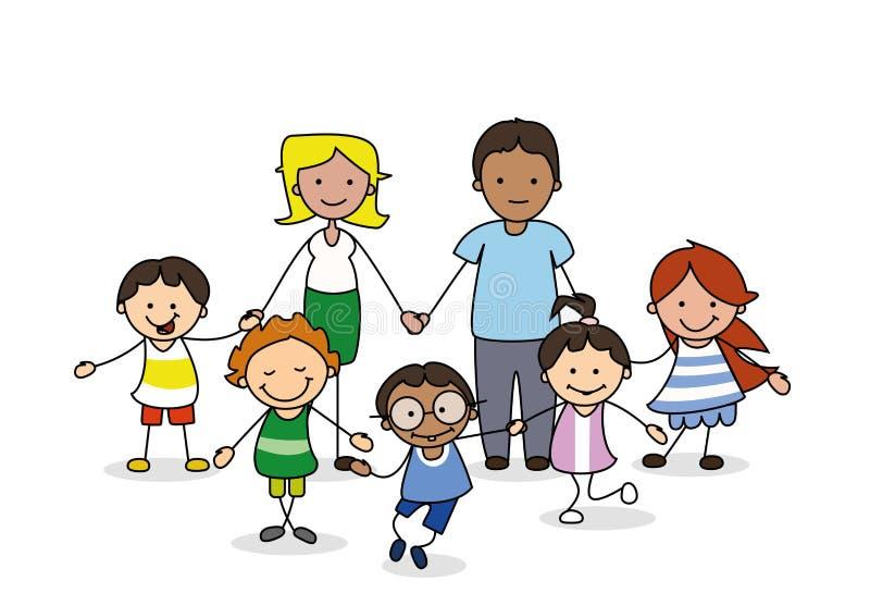 Komisk stil för för för familjillustration, föräldrar och barn stock illustrationer