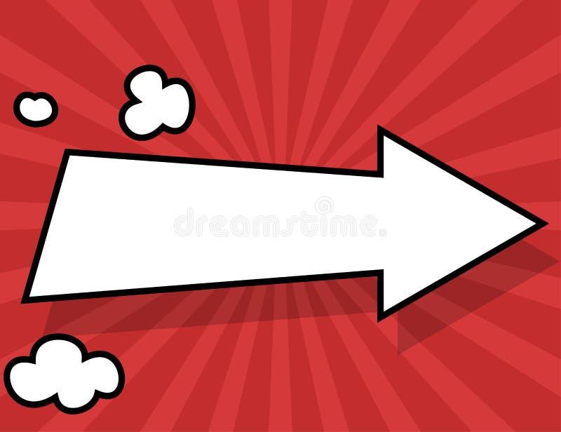 Komisk stilbakgrund med den vita pilen vektor illustrationer