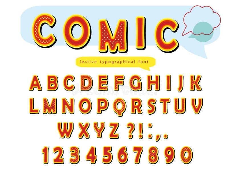 Komisk stilsortsdesign Rolig popkonst märker och nummer vektor stock illustrationer