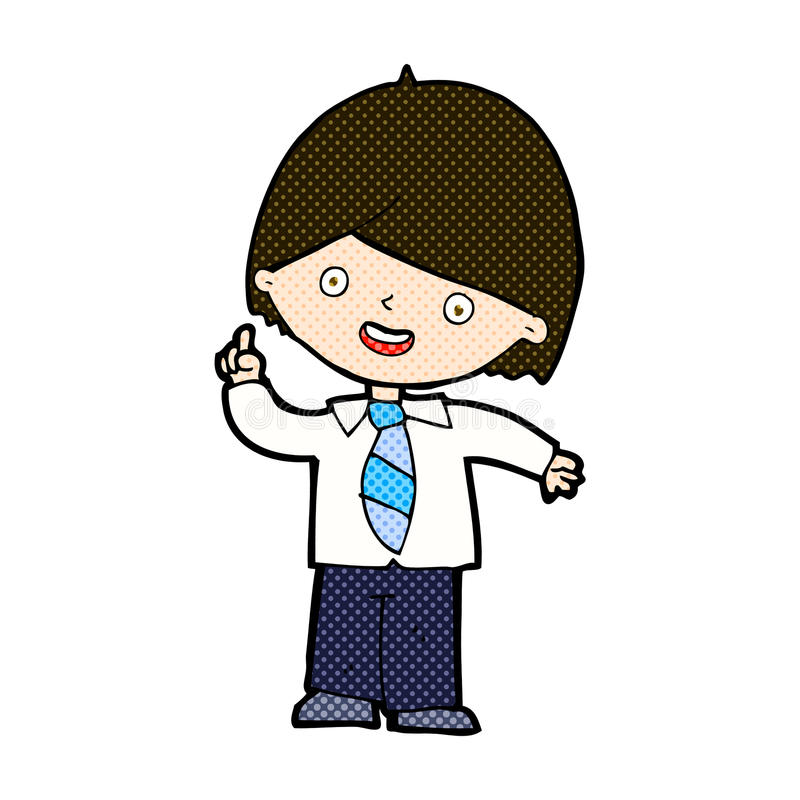 komisk svarande fråga för tecknad filmskolapojke royaltyfri illustrationer
