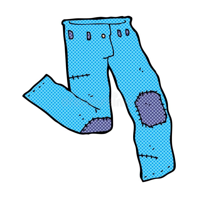 komisk tecknad film lappad gammal jeans stock illustrationer