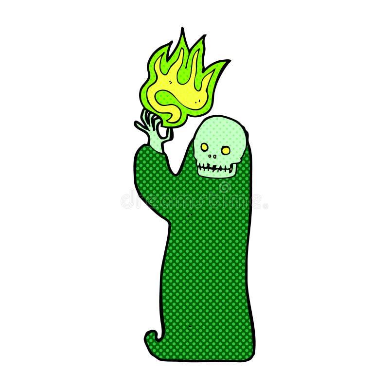 komisk tecknad film som vinkar den halloween likätande onda anden royaltyfri illustrationer