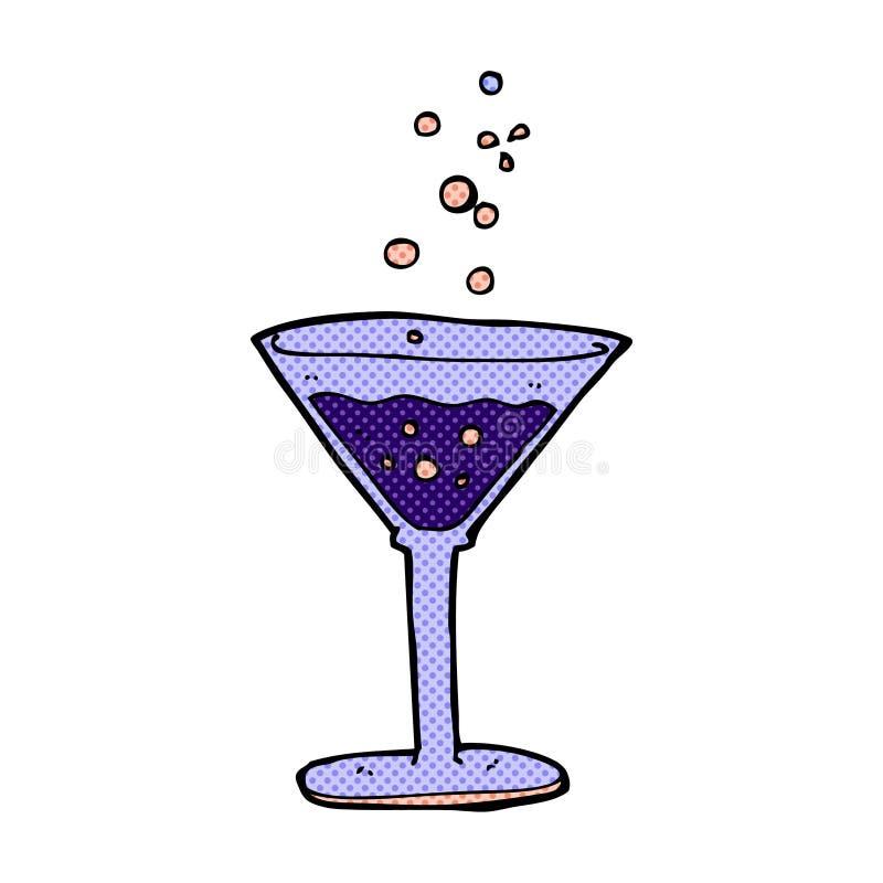komisk tecknad filmcoctail stock illustrationer