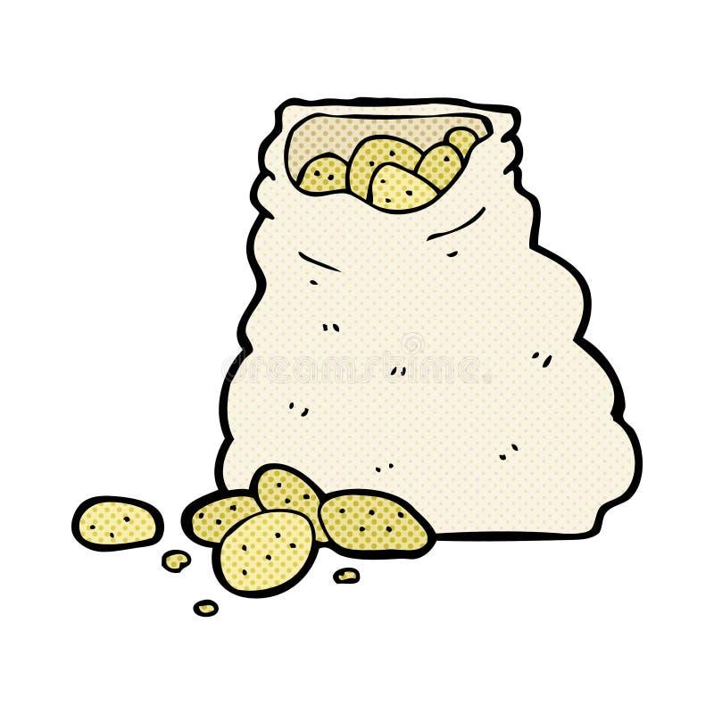 komisk tecknad filmsäck av potatisar vektor illustrationer