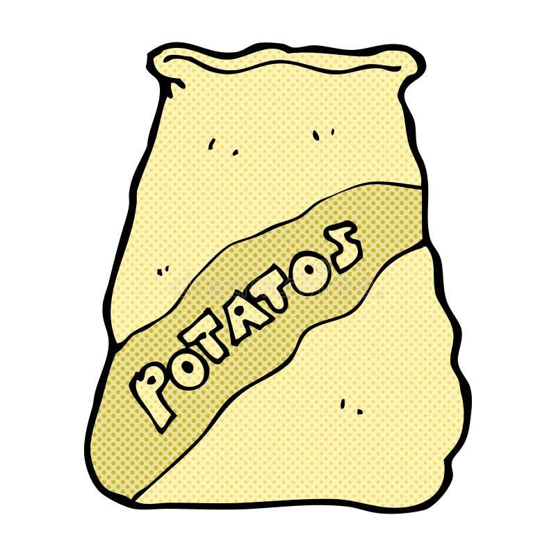 komisk tecknad filmsäck av potatos vektor illustrationer