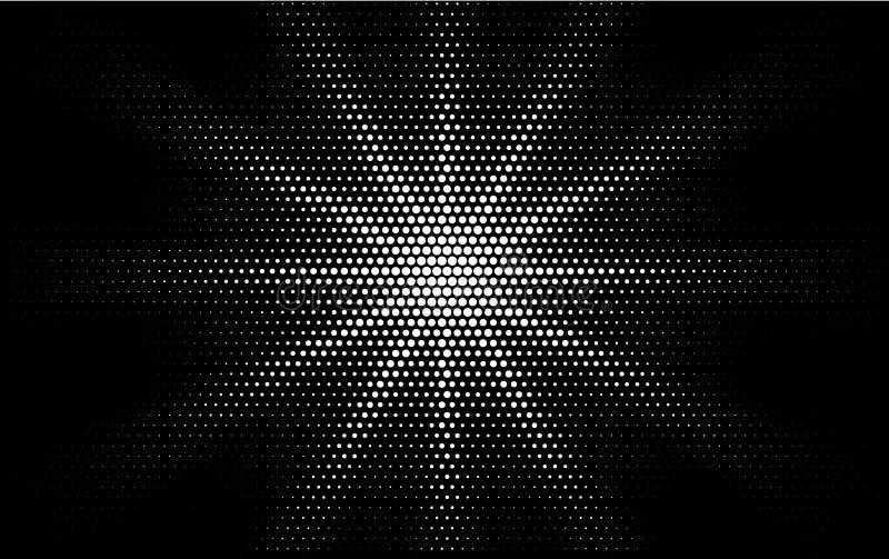 Komisk vit prucken för popkonst för lutning rastrerad design för stil retro på svart bakgrund Monokrom skenstjärna eller sol stock illustrationer