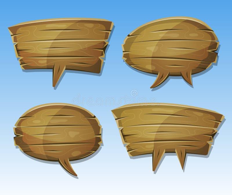 Komisk Wood anförandebubblauppsättning vektor illustrationer