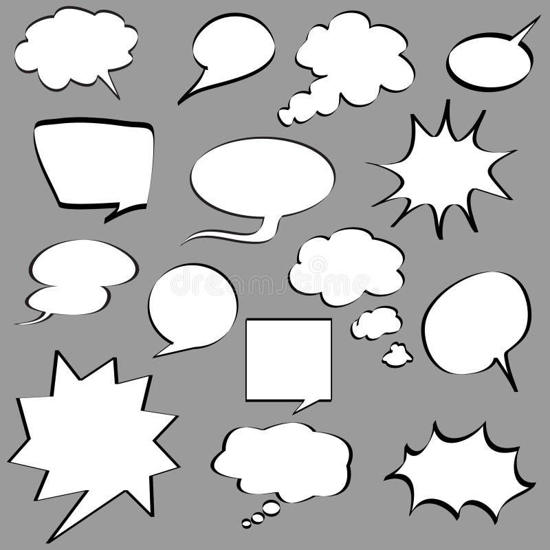 Komiska anförandebubblor royaltyfri illustrationer