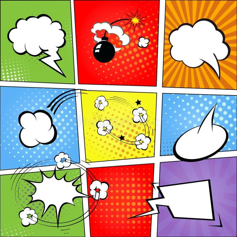 Komiska anförandebubblor och bakgrund för komisk remsa royaltyfri illustrationer