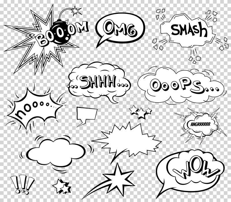 Komiska anförandebubblor ställde in och att uttrycka designen för solid effekt för bakgrund, remsan Boksmällmoln, pow och kall ut vektor illustrationer