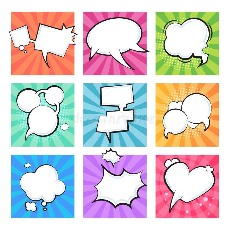komiska bubblor f?r tecknad film Komiker f?r form f?r meddelande f?r text f?r best?ndsdel f?r moln f?r retro ballonger f?r anf?ra stock illustrationer