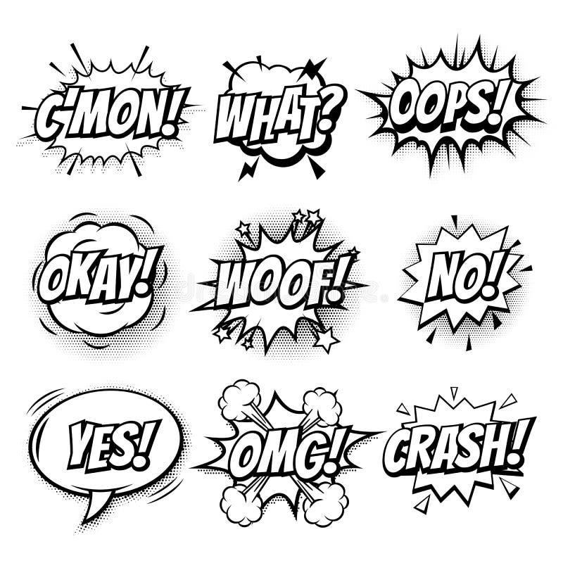 Komiska den isolerade textbubblavektorn skissar symbolsuppsättningen royaltyfri illustrationer
