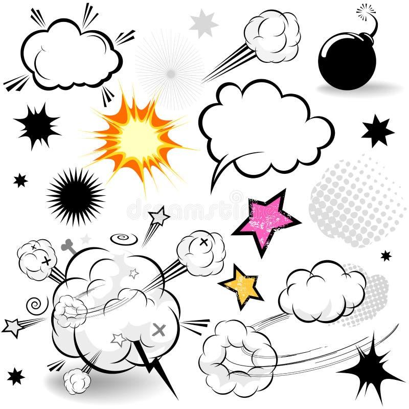 komiska designelement vektor illustrationer