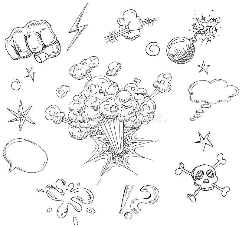 komiska element stock illustrationer