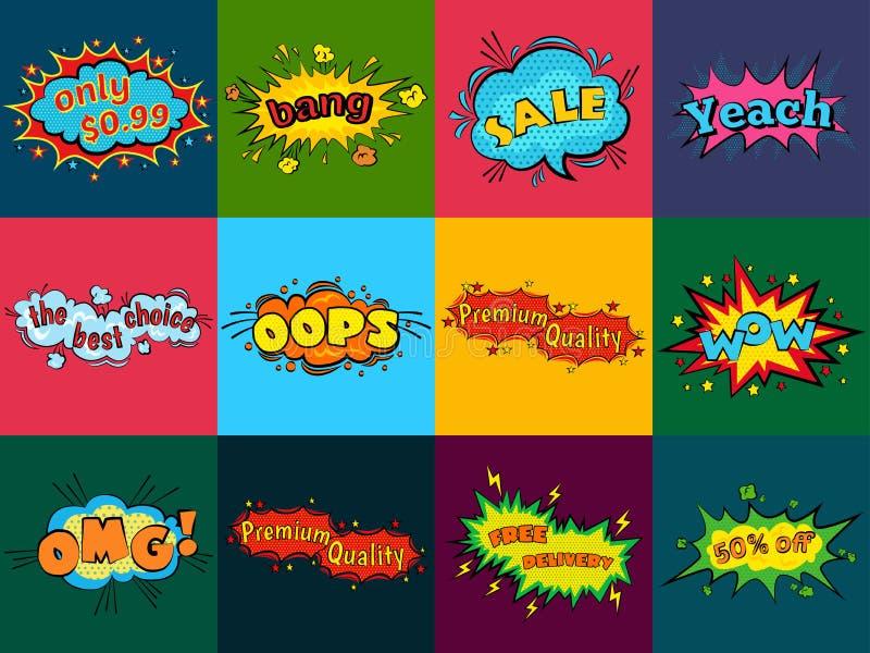 Komiska solida effekter i vektor för popkonst utformar Solitt bubblaanförande med ord och komikertecknad filmuttryck låter stock illustrationer