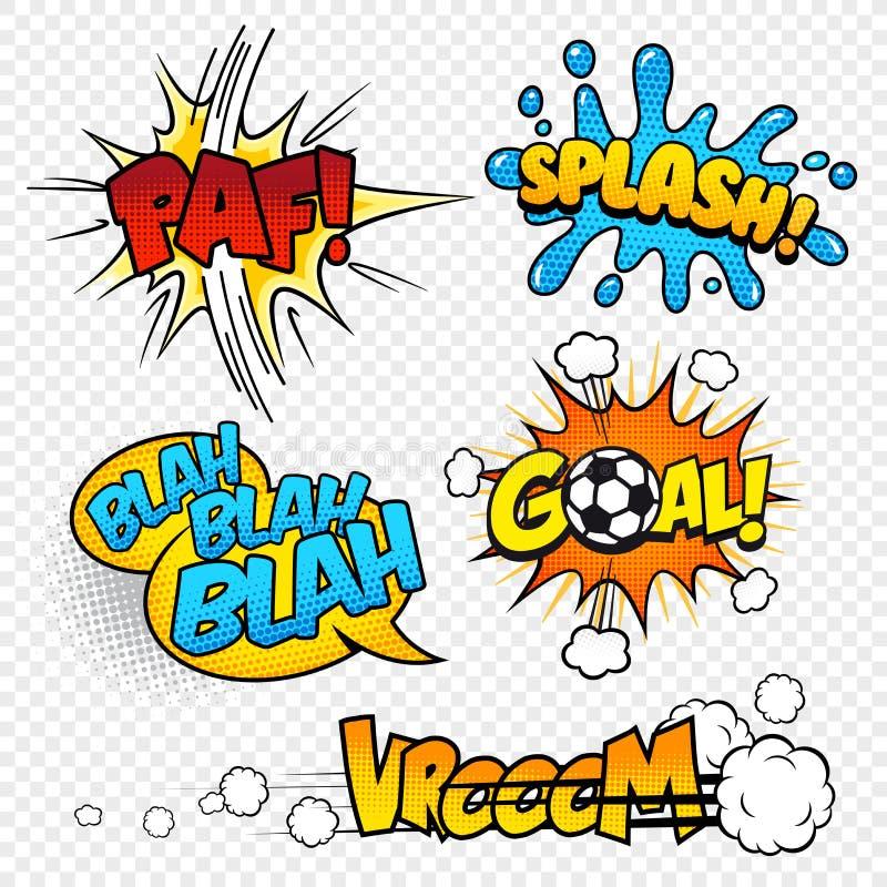 Komiska solida effekter set3 för tecknad filmvektor vektor illustrationer
