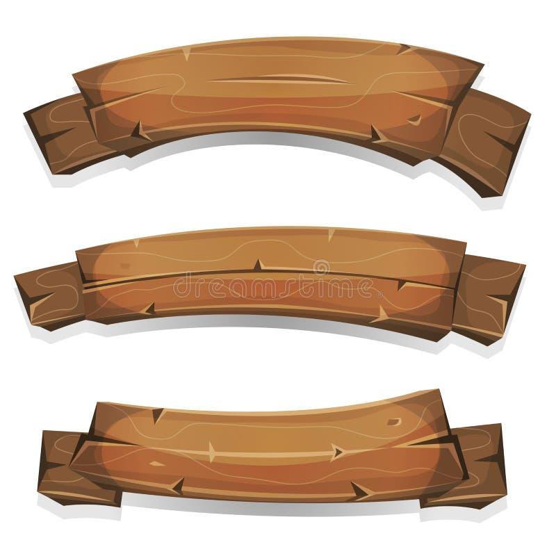 Komiska Wood baner och band stock illustrationer