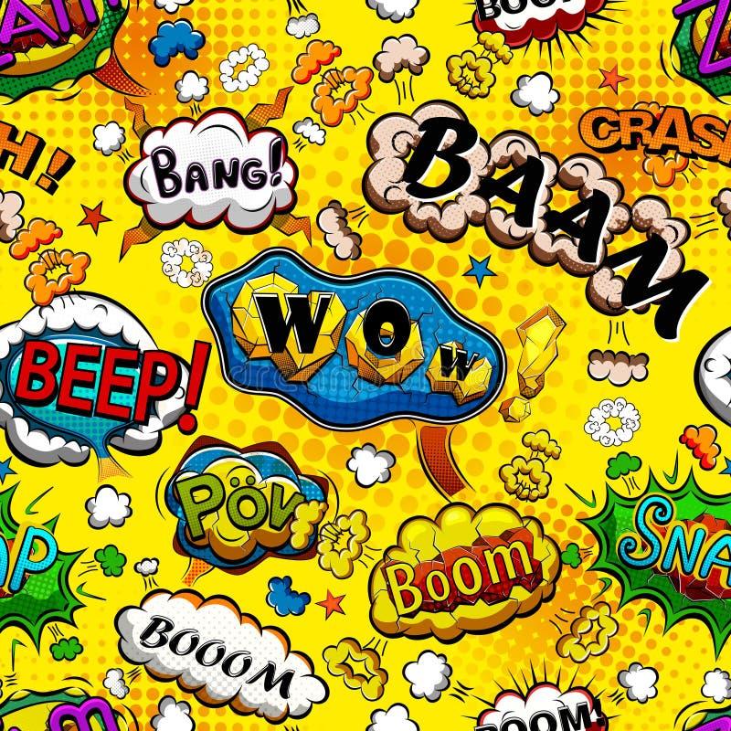 Komiskt anförande bubblar den sömlösa modellen med den gula bakgrundsvektorn vektor illustrationer