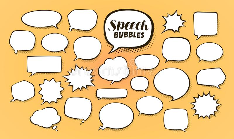 Komiskt anförande bubblar med rastrerade skuggor den främmande tecknad filmkatten flyr illustrationtakvektorn royaltyfri illustrationer