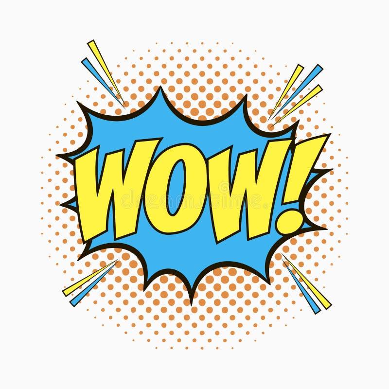 Komiskt anförande bubblar med sinnesrörelser - ÖVERRASKA Tecknade filmen skissar av dialogeffekter i stil för popkonst på prickha royaltyfri illustrationer