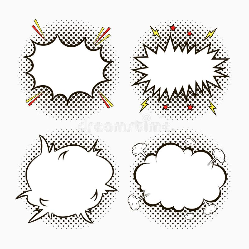 Komiskt anförande bubblar på rastrerad bakgrund för prickar med stjärnor och blixtar Skissa av tomma dialogeffekter i stil för po vektor illustrationer